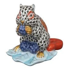 Herend Porcelain Fishnet Figurine of a Chipmunk with Berries