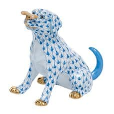 Herend Porcelain Fishnet Figurine of a Dog - Max with Bone