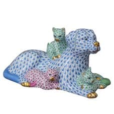 Herend Porcelain Fishnet Figurine of a Dog with Kittens