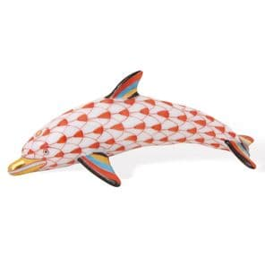 Herend Porcelain Fishnet Figurine of a Dolphin Baby