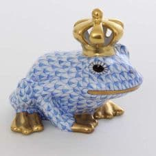 Herend Porcelain Fishnet Figurine of a Frog King with Open Crown