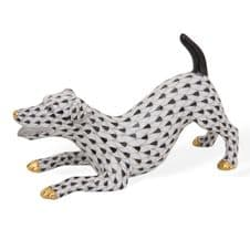 Herend Porcelain Fishnet Figurine of a Jack Russell Terrier