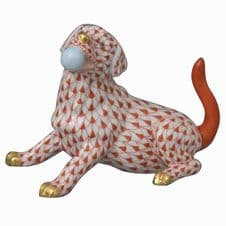 Herend Porcelain Fishnet Figurine of a Labrador with Ball
