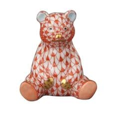 Herend Porcelain Fishnet Figurine of a Miniature Baby Bear Sitting