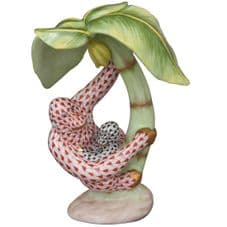 Herend Porcelain Fishnet Figurine of a Monkey and Baby - Figurine of the Year 2010