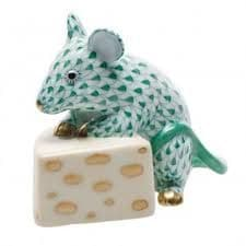 Herend Porcelain Fishnet Figurine of a Mouse with Cheese