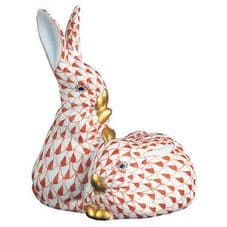Herend Porcelain Fishnet Figurine of a Pair of Rabbits