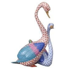 Herend Porcelain Fishnet Figurine of a Pair of Swans