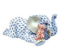 Herend Porcelain Fishnet Figurine of an Elephant with Mouse