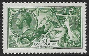 1913 SG403 George V £1 Green Seahorse  Stamp  Very Fine  Mounted Mint  (With Certificate)