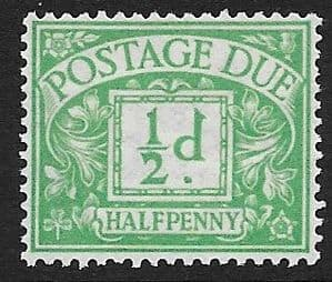 1914 D1 ½d  Emerald  George V Simple Cypher Postage Due Umnounted Mint