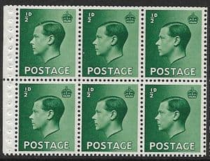 PB1 ½d Green Booklet Pane of 6 Watermark Upright  Unmounted Mint (Edward VIII Stamps)