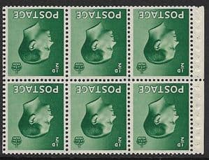 PB1a ½d Green Booklet Pane of 6 Watermark Inverted  Unmounted Mint (Edward VIII Stamps)
