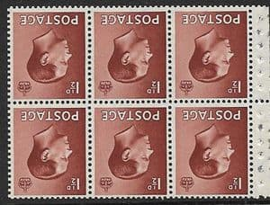PB3a 1½d Brown Booklet Pane of 6 Watermark Inverted  Unmounted Mint (Edward VIII Stamps)