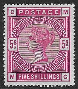 SG180 5/- Rose  MOUNTED Mint (Queen Victoria Surface Printed Stamps)