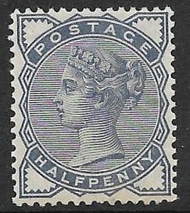 SG187 1883-84 ½d Blue MOUNTED Mint (Queen Victoria Surface Printed Stamps)