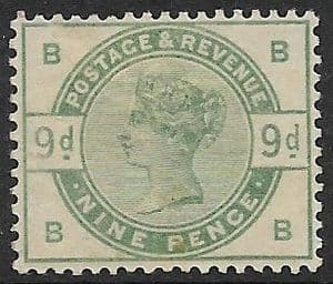 SG195 1883-84 9d Green MOUNTED Mint (Queen Victoria Surface Printed Stamps)