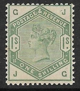 SG196 1883-84 1/- Green MOUNTED Mint (Queen Victoria Surface Printed Stamps)