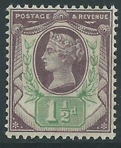 SG198 1½d Purple & Green 1887 Jubilee Issue MOUNTED Mint (Queen Victoria Surface Printed Stamps)