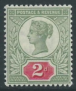 SG200 2d Green & Carmine 1887 Jubilee Issue MOUNTED Mint (Queen Victoria Surface Printed Stamps)