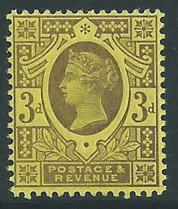 SG202 3d Purple on Yellow Paper 1887 Jubilee Issue Unmounted Mint (Queen Victoria Surface Printed Stamps)