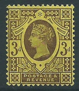 SG203 3d Deep Purple on Yellow 1887 Jubilee MOUNTED Mint (Queen Victoria Surface Printed Stamps)