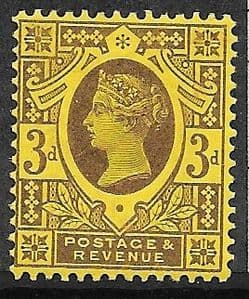 SG204 3d Purple on Orange Paper 1887 Jubilee  MOUNTED Mint (Queen Victoria Surface Printed Stamps)