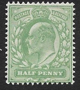 SG217 ½d Pale Yellowish Green DLR Ordinary Paper MOUNTED MINT (Edward VII Stamps)