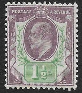 SG221 1½d  Dull Purple & Green DLR Ordinary Paper MOUNTED MINT (Edward VII Stamps)
