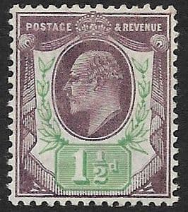 SG222 1½d  Slate Purple & Green DLR Ordinary Paper MOUNTED MINT (Edward VII Stamps)