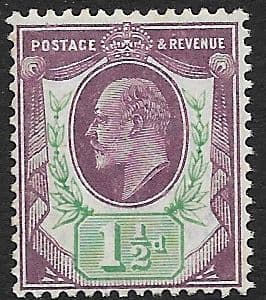 SG223  1½d Pale Dull Purple & Green  DLR Chalk Surface Paper MOUNTED MINT (Edward VII Stamps)