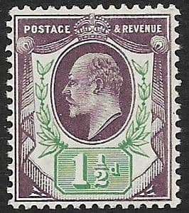 SG224 1½d Slate Purple & Bluish Green  DLR Chalk Surface Paper MOUNTED MINT (Edward VII Stamps)