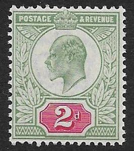 SG225 2d Yellowish Green & Carmine Red DLR Ordinary Paper MOUNTED MINT (Edward VII Stamps)