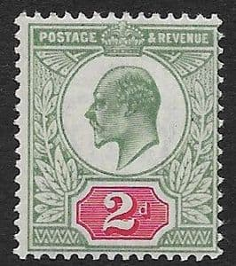 SG226 2d Grey Green & Carmine Red  DLR Ordinary Paper MOUNTED MINT (Edward VII Stamps)