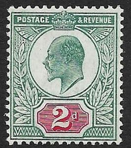 SG227 2d Pale Grey Green & Carmine Red  DLR Chalk Surface Paper MOUNTED MINT (Edward VII Stamps)
