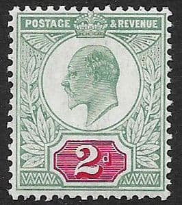 SG228 2d Pale Grey Green & Scarlet  DLR Chalk Surface Paper MOUNTED MINT (Edward VII Stamps)