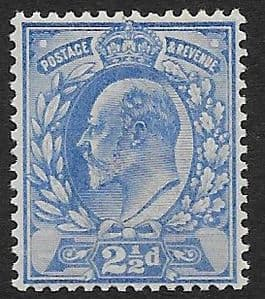 SG231 2½d Pale Ultramarine DLR Ordinary Paper MOUNTED MINT (Edward VII Stamps)