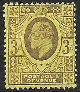 SG232 3d Dull Purple/Orange Yellow DLR Ordinary Paper MOUNTED MINT (Edward VII Stamps)
