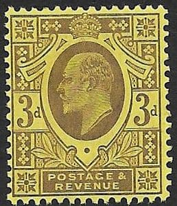 SG232a 3d Dull Purple/Orange Yellow DLR Chalk Surface Paper MOUNTED MINT (Edward VII Stamps)