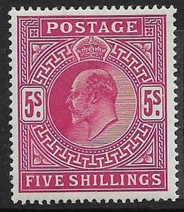 SG263 5s Bright Carmine  MOUNTED MINT (Edward VII Stamps)
