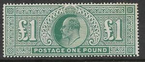 SG266  £1  Dull Green  MOUNTED MINT (Edward VII Stamps) (stock code 13016)