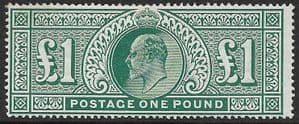SG320 £1 Deep Green  Somerset House Printing Very Fine MOUNTED MINT (Edward VII Stamps)