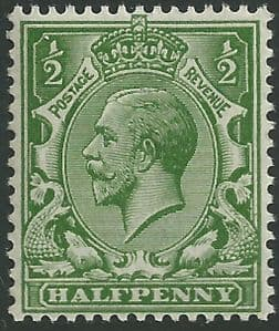 SG353 ½d Deep Green Unmounted Mint (King George V 1912-22 Royal Cypher Watermark Stamps)