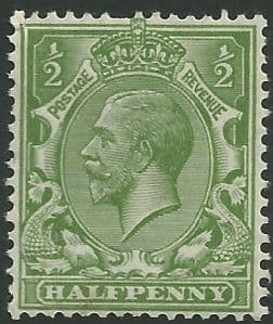 SG354 ½d Yellow Green Unmounted Mint (King George V 1912-22 Royal Cypher Watermark Stamps)