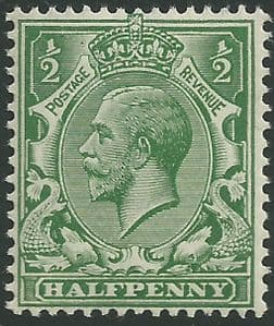 SG356 ½d Blue Green Unmounted Mint (King George V 1912-22 Royal Cypher Watermark Stamps)