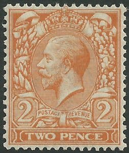 SG366 2d Orange-Yellow Type I Unmounted Mint (King George V 1912-22 Royal Cypher Watermark Stamps)