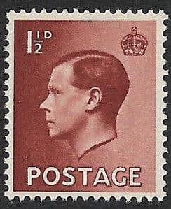 SG459 1½d Brown Unmounted Mint (1936 Edward VIII Stamps)