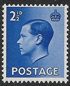 SG460 2d Blue Unmounted Mint (1936 Edward VIII Stamps)
