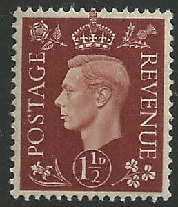 SG464 1½d Red Brown Unmounted Mint (George VI 1937 Definitive Stamps)
