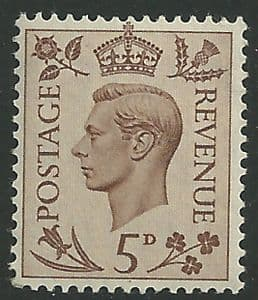 SG469 5d Brown Unmounted Mint (George VI 1937 Definitive Stamps)